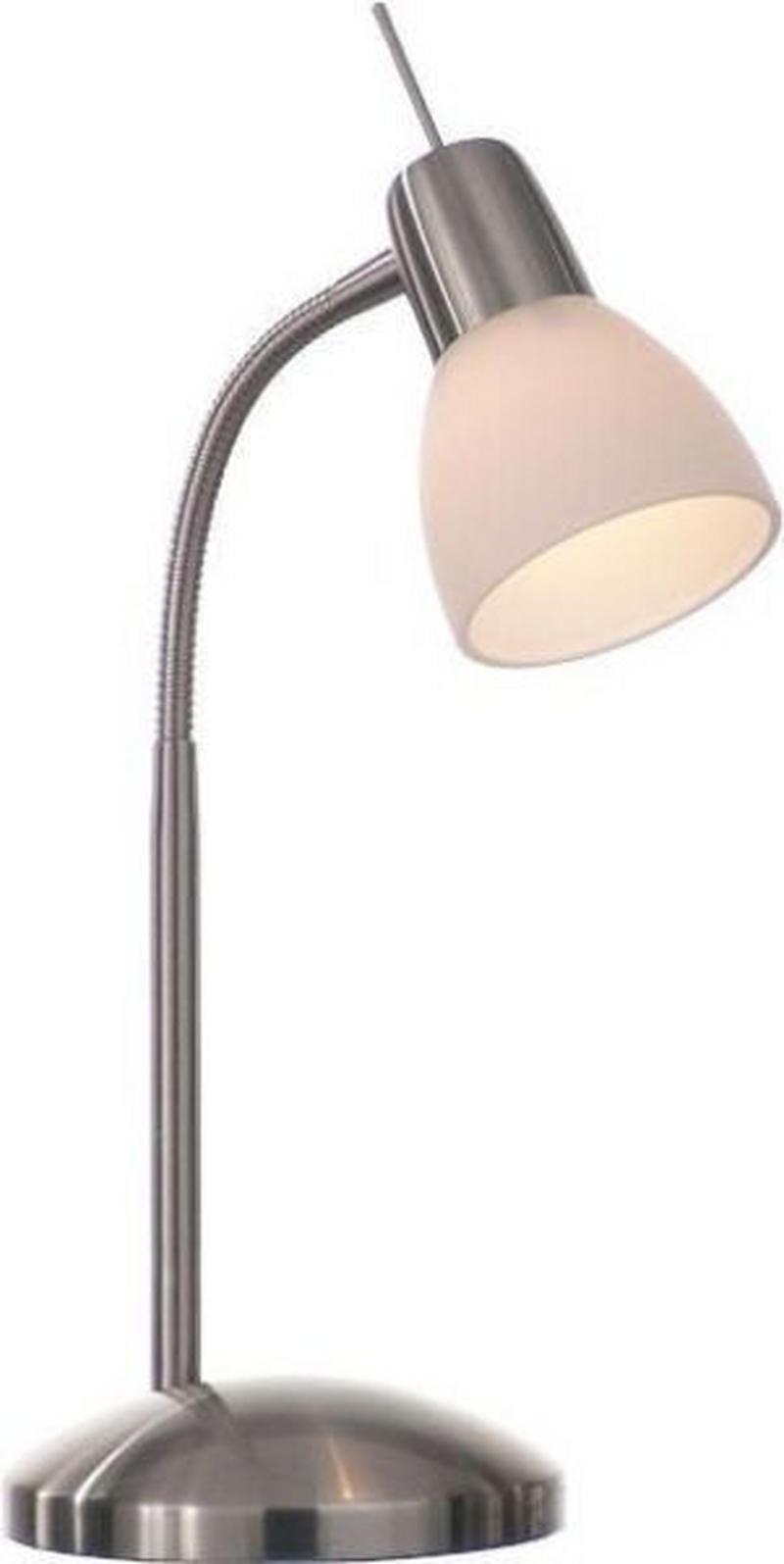 BORDSLAMPA - vit/nickelfärgad, Klassisk, metall/glas (13/40cm) - Boxxx