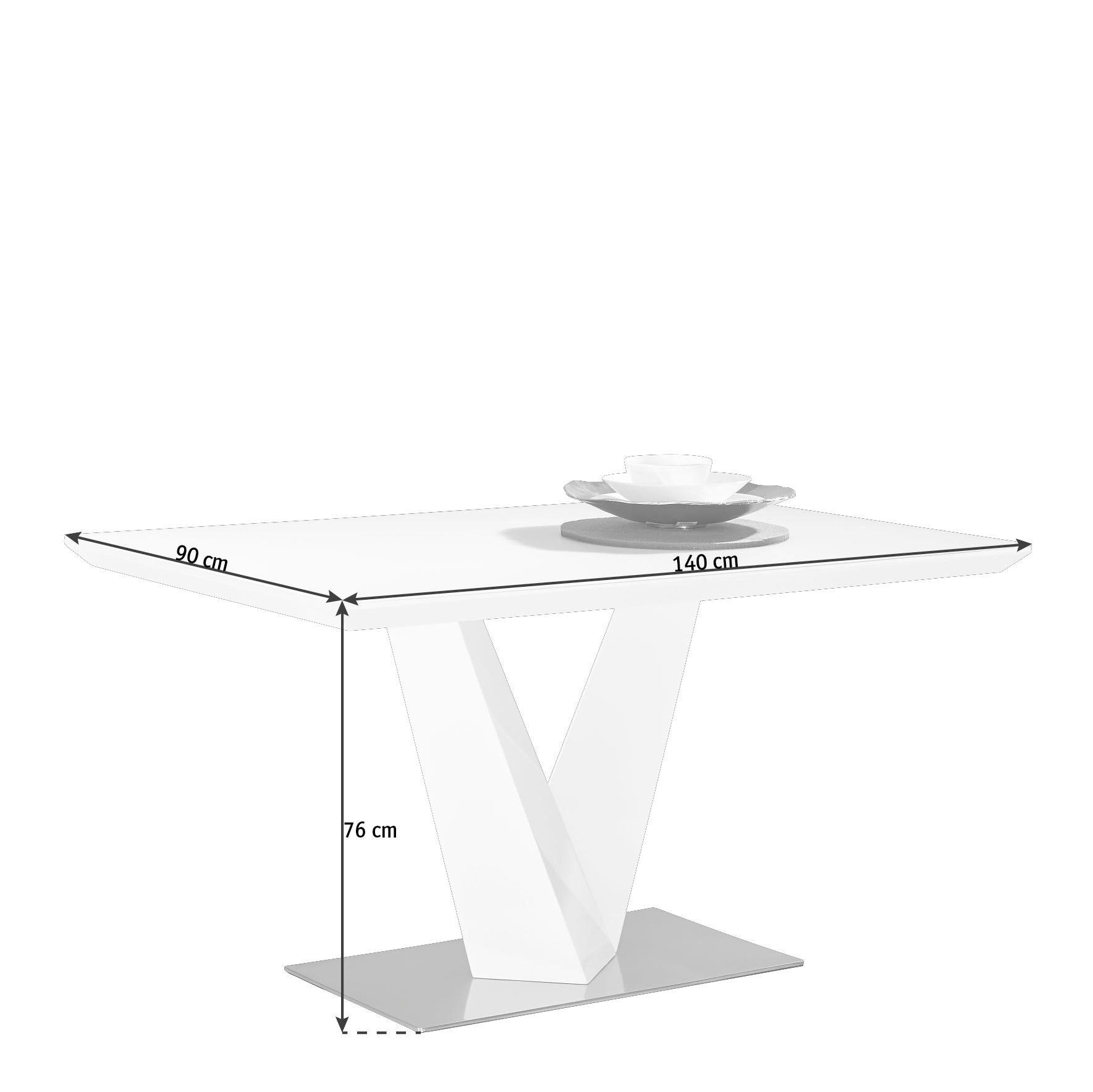 TRPEZARIJSKI STO - Bela/Boja nerđajućeg čelika, Dizajnerski, Metal/Staklo (140/76/90cm) - Novel