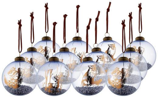 CHRISTBAUMKUGEL-SET  12-teilig Hellblau - Hellblau, Basics, Glas (8cm)