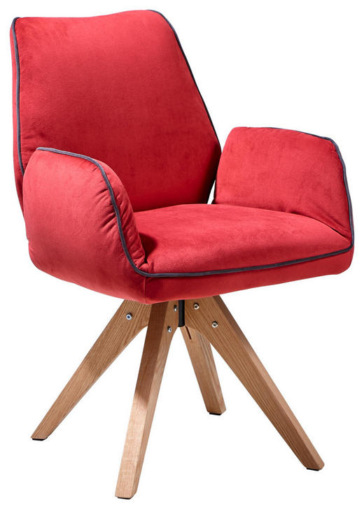STUHL in Holz, Textil Grau, Rot, Eichefarben - Eichefarben/Rot, Design, Holz/Textil (60/89/65cm) - Landscape