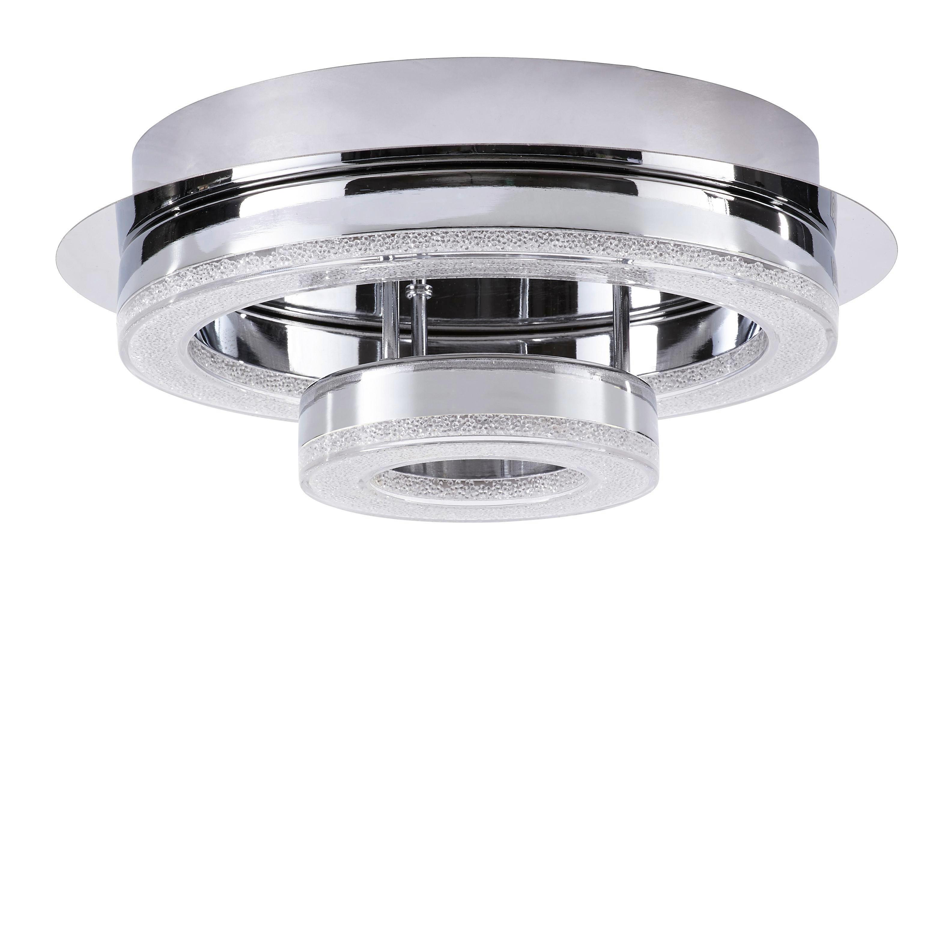 LED-DECKENLEUCHTE - Chromfarben, Design, Kunststoff/Metall (28/11,2cm)