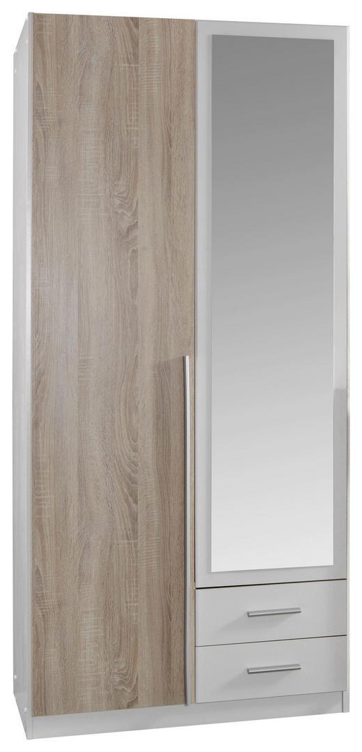 DREHTÜRENSCHRANK 2-türig Eichefarben, Weiß - Eichefarben/Alufarben, Design, Holzwerkstoff/Kunststoff (90/198/56cm) - Carryhome