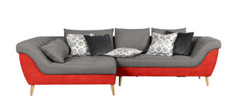 WOHNLANDSCHAFT in Textil Grau, Orange  - Orange/Naturfarben, Design, Holz/Textil (175/313cm) - Carryhome