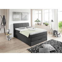 BOXSPRINGBETT Webstoff 140/200 cm  INKL. Matratze, Bettkasten, Topper  - Anthrazit, KONVENTIONELL, Textil (140/200cm) - Carryhome