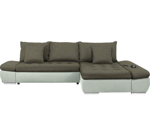 WOHNLANDSCHAFT in Textil Braun, Weiß - Chromfarben/Braun, Design, Textil/Metall (309/200cm) - Hom`in