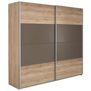 SCHWEBETÜRENSCHRANK in Eichefarben, Grau - Eichefarben/Alufarben, Design, Holzwerkstoff/Metall (226/210/62cm) - CARRYHOME