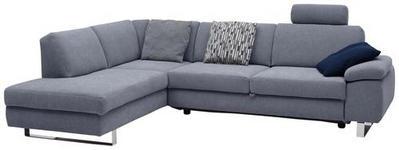 WOHNLANDSCHAFT Grau Webstoff  - Chromfarben/Grau, Design, Textil/Metall (198/274cm) - Venda
