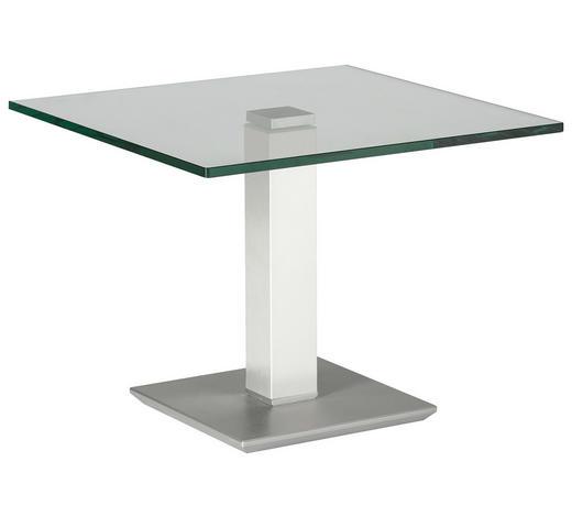 BEISTELLTISCH in Metall, Glas 60/60/46-65 cm - Edelstahlfarben/Weiß, Design, Glas/Kunststoff (60/60/46-65cm)