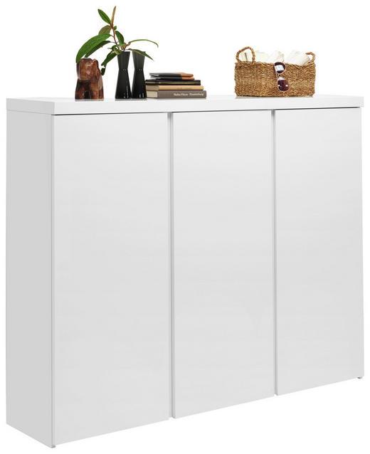 SCHUHSCHRANK Hochglanz, lackiert Weiß - Weiß, Design, Holzwerkstoff (144/120/35cm) - Xora