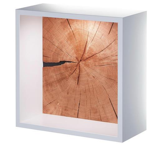 WANDREGAL Eiche massiv Weiß, Eichefarben  - Eichefarben/Weiß, Design, Holz (37,5/37,5/20cm)