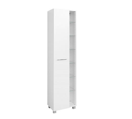 SEITENSCHRANK Weiß  - Chromfarben/Silberfarben, KONVENTIONELL, Holzwerkstoff/Kunststoff (45/185/35cm) - Carryhome