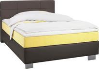 BOXSPRINGBETT 100 cm   x 200 cm   in Textil Braun, Gelb - Chromfarben/Gelb, Design, Kunststoff/Textil (100/200cm) - Hom`in