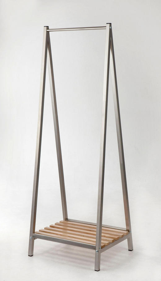 GARDEROBENSTÄNDER Edelstahlfarben, Kieferfarben - Edelstahlfarben/Kieferfarben, Design, Holz/Metall (53/162/42cm)