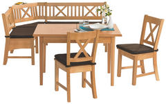 ECKBANKGRUPPE in Holz, Textil Braun, Buchefarben  - Buchefarben/Braun, KONVENTIONELL, Holz/Textil (179/137cm) - Venda