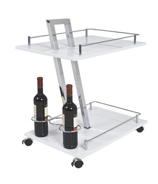 SERVIERWAGEN Metall Chromfarben, Weiß - Chromfarben/Weiß, Design, Metall (40/72/60cm)