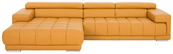 WOHNLANDSCHAFT in Leder Gelb - Gelb/Braun, Design, Leder/Holz (190/335/cm) - Beldomo Premium