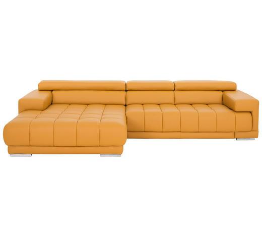 WOHNLANDSCHAFT in Leder Gelb - Gelb/Braun, Design, Leder/Holz (190/335cm) - Beldomo Premium
