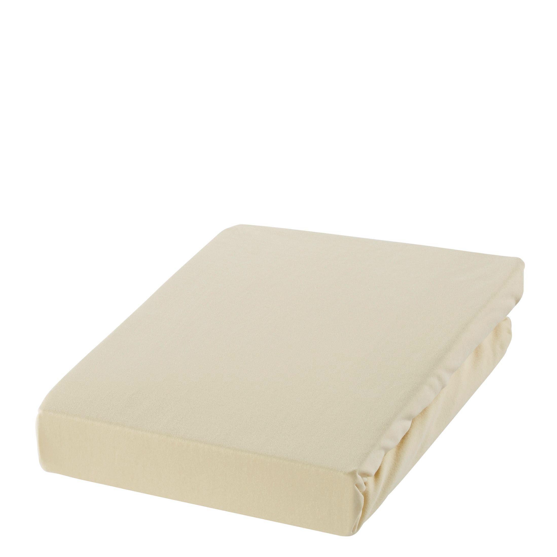 SPANNBETTTUCH Zwirn-Jersey Creme bügelfrei, für Wasserbetten geeignet - Creme, Basics, Textil (150/200cm) - ESTELLA