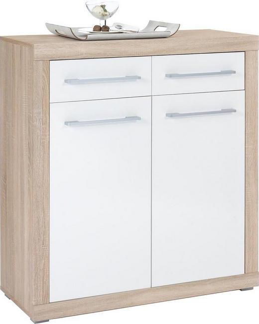 KOMMODE Sonoma Eiche, Weiß - Silberfarben/Weiß, Design, Holzwerkstoff/Kunststoff (95/103/40cm) - BOXXX