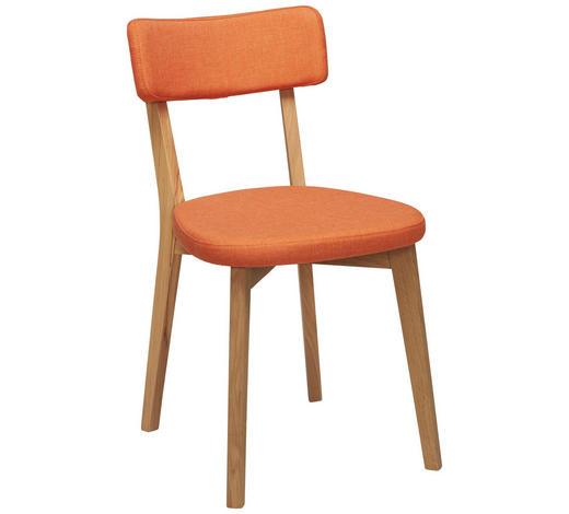 STUHL in Holz, Textil Orange, Eichefarben - Eichefarben/Orange, Design, Holz/Textil (44/82/55cm) - Carryhome