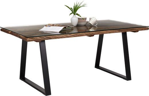 ESSTISCH in Holz, Metall, Glas - Schwarz/Naturfarben, Trend, Glas/Holz (190/95/76cm) - Ambia Home