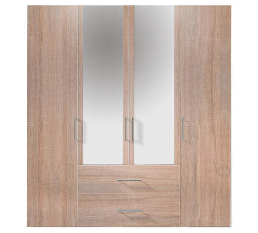 KLEIDERSCHRANK in Eichefarben  - Eichefarben/Alufarben, Design, Glas/Holzwerkstoff (200/216/58cm) - Hom`in