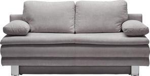 SCHLAFSOFA in Hellgrau Textil - Chromfarben/Hellgrau, Design, Textil/Metall (194/89/96cm) - Novel