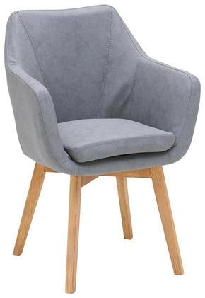 KARMSTOL - grå/ekfärgad, Design, trä/textil (56/82/55cm) - Carryhome