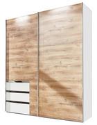 SCHWEBETÜRENSCHRANK 2-türig Weiß, Eichefarben - Eichefarben/Alufarben, Design, Holzwerkstoff/Metall (250/216/65cm) - Carryhome