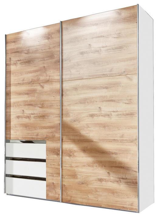 SCHWEBETÜRENSCHRANK 2-türig Eichefarben, Weiß - Eichefarben/Alufarben, Design, Holzwerkstoff/Metall (250/216/65cm) - Carryhome
