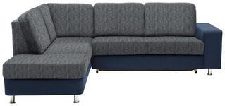 WOHNLANDSCHAFT in Textil Blau, Grau  - Chromfarben/Blau, KONVENTIONELL, Kunststoff/Textil (198/253cm) - Xora