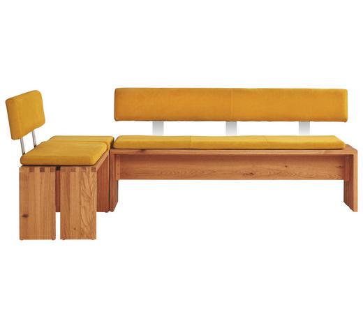 ECKBANK Wildeiche massiv Gelb, Eichefarben  - Eichefarben/Gelb, Design, Holz/Textil (215/145cm) - Musterring