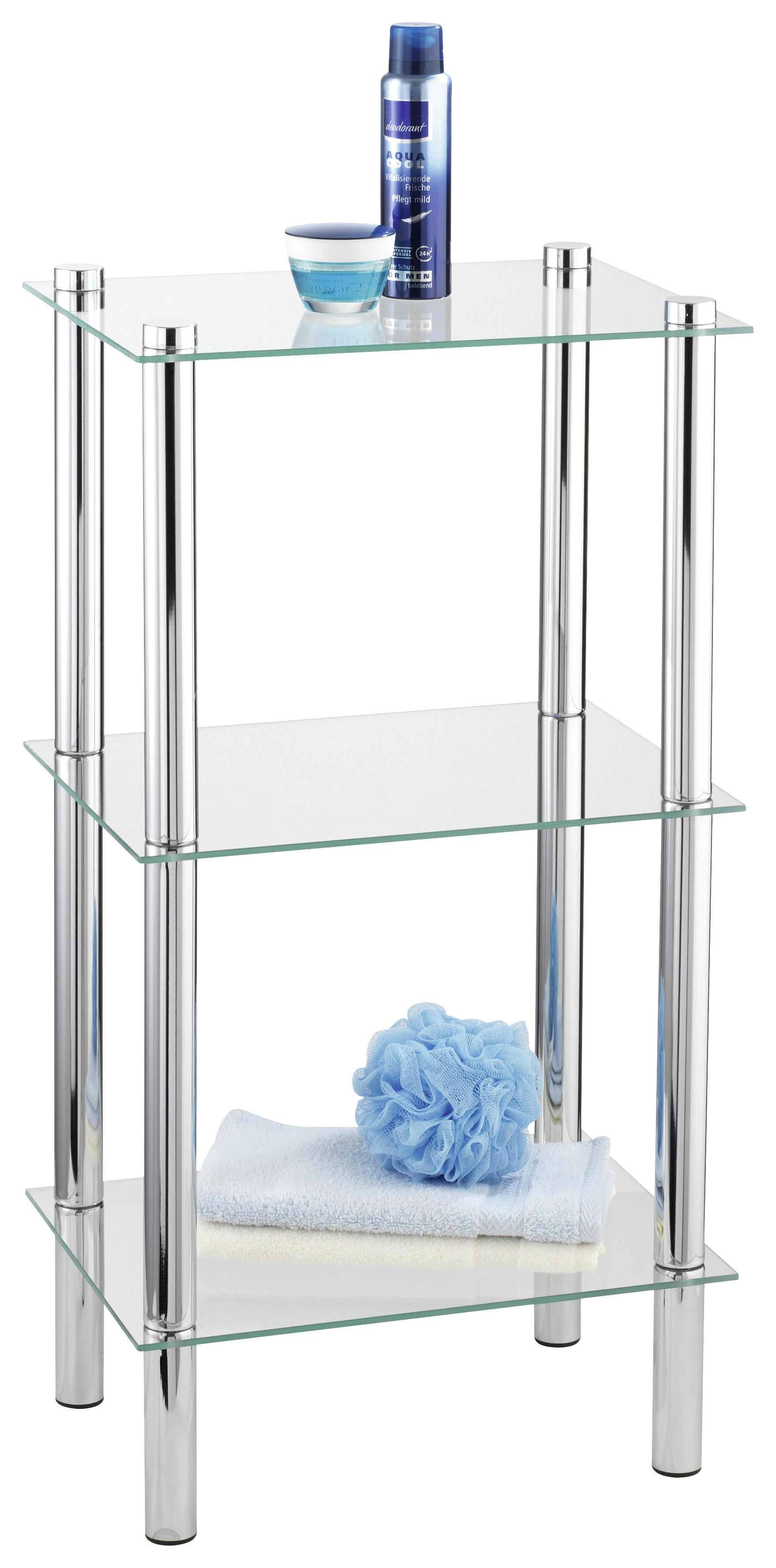 BADEZIMMERREGAL Metall, Glas Chromfarben