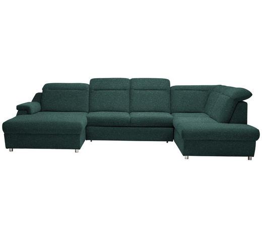 WOHNLANDSCHAFT in Textil Grün  - Chromfarben/Grün, Design, Kunststoff/Textil (193/363/223cm) - Welnova