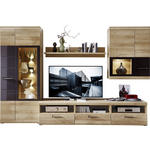 ANBAUWAND Grau, Eichefarben  - Eichefarben/Alufarben, Design, Glas/Holzwerkstoff (300/194/54cm) - Xora