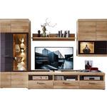 WOHNWAND Grau, Eichefarben  - Eichefarben/Alufarben, Design, Glas/Holzwerkstoff (300/194/54cm) - Xora