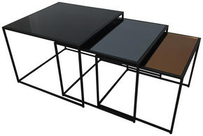 SOFFBORD SET - grå/svart, Design, metall/glas - Carryhome