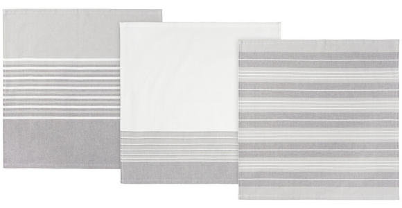 GESCHIRRTUCH-SET 3-teilig Grau, Weiß  - Weiß/Grau, Design, Textil (50/50cm) - Esposa