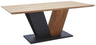 ESSTISCH in Holz, Metall 200/100/77 cm   - Eichefarben/Schwarz, Design, Holz/Metall (200/100/77cm) - Voleo