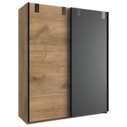 OMARA Z DRSNIMI VRATI, grafit, hrast  - hrast/grafit, Design, kovina/leseni material (135/198/64cm) - Hom`in