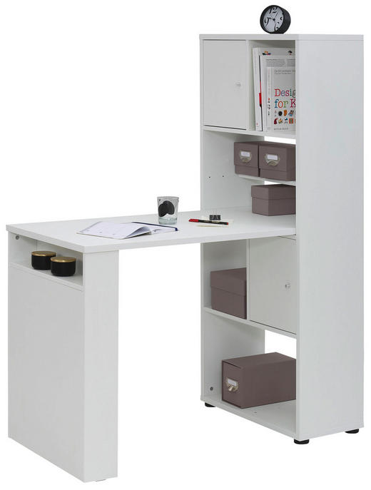 MINI-OFFICE Schreibtisch seitenverkehrt montierbar Weiß - Weiß, Design (64,8/145,1/114,1cm) - Carryhome