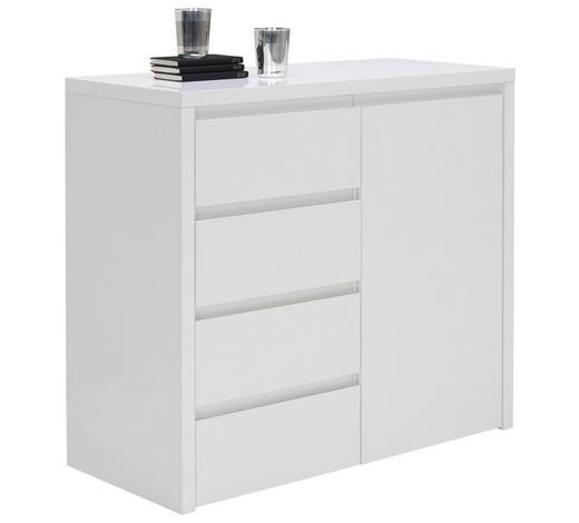 KOMODA, bílá - bílá, Design, kompozitní dřevo (99,8/92,2/45cm) - Voleo