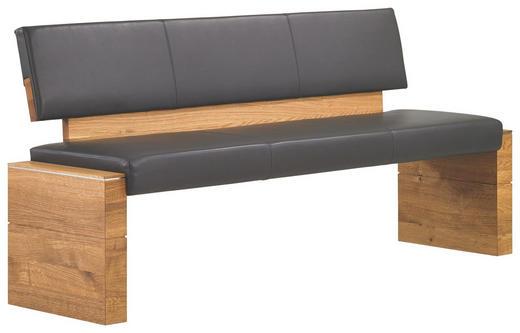 SITZBANK Echtleder Asteiche massiv Anthrazit, Eichefarben - Eichefarben/Anthrazit, Design, Leder/Holz (180/56/82cm) - CASSANDO
