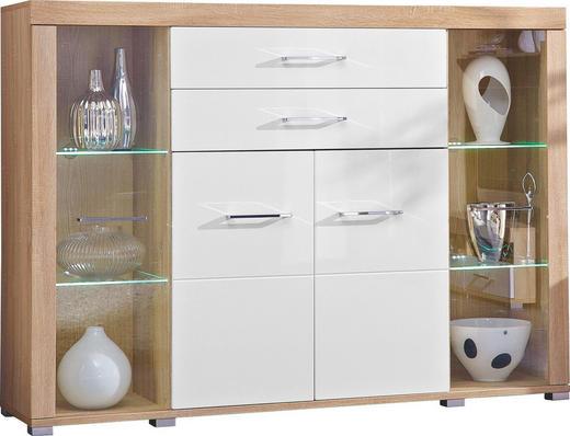HIGHBOARD Hochglanz Sonoma Eiche, Weiß - Silberfarben/Weiß, Design, Glas/Holz (174/125/45cm) - CARRYHOME