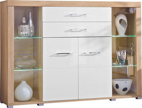 HIGHBOARD - vit/Sonoma ek, Design, glas/trä (174/125/45cm) - Carryhome