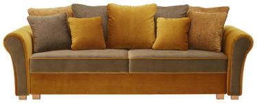 BIGSOFA in Textil Dunkelgrün, Currygelb  - Currygelb/Dunkelgrün, ROMANTIK / LANDHAUS, Kunststoff/Textil (255/76-90/106cm) - Hom`in