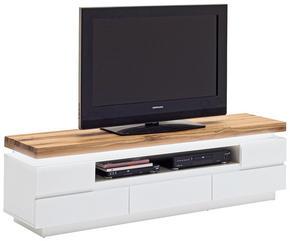 MEDIABÄNK - vit/ekfärgad, Design, trä/träbaserade material (175/49/40cm)
