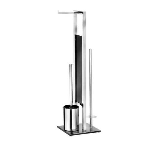 TOILETTENPAPIERHALTER - Silberfarben/Schwarz, Design, Glas/Kunststoff (20/70/18cm)