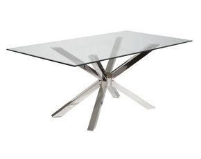 MATBORD - kromfärg/transparent, Design, metall/glas (180/76/96cm)