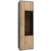 Vitrine in furniert, massiv Eiche Anthrazit, Eichefarben - Eichefarben/Anthrazit, Natur, Glas/Holz (60/206/39cm) - Valnatura